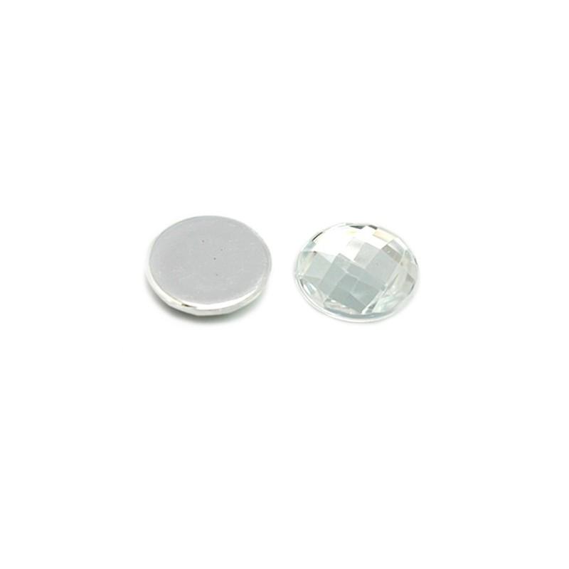 Кабошон акриловый, круглый, граненый, прозрачный, 5х14мм