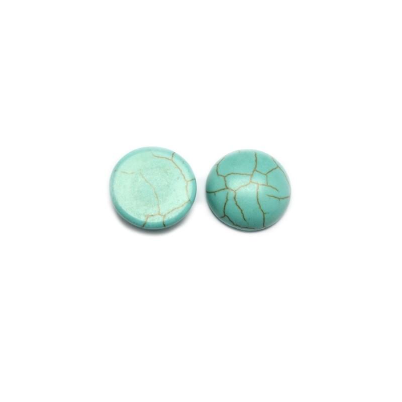 Кабошон, Бирюзовый, диаметр 20мм