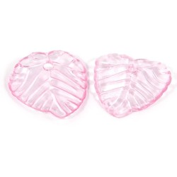 Підвіска Листочок, 15мм, глясова, рожева