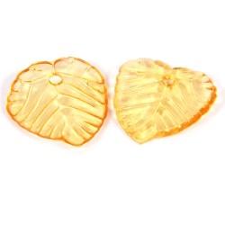 Підвіска Листочок, 15мм, глянсова, помаранчева