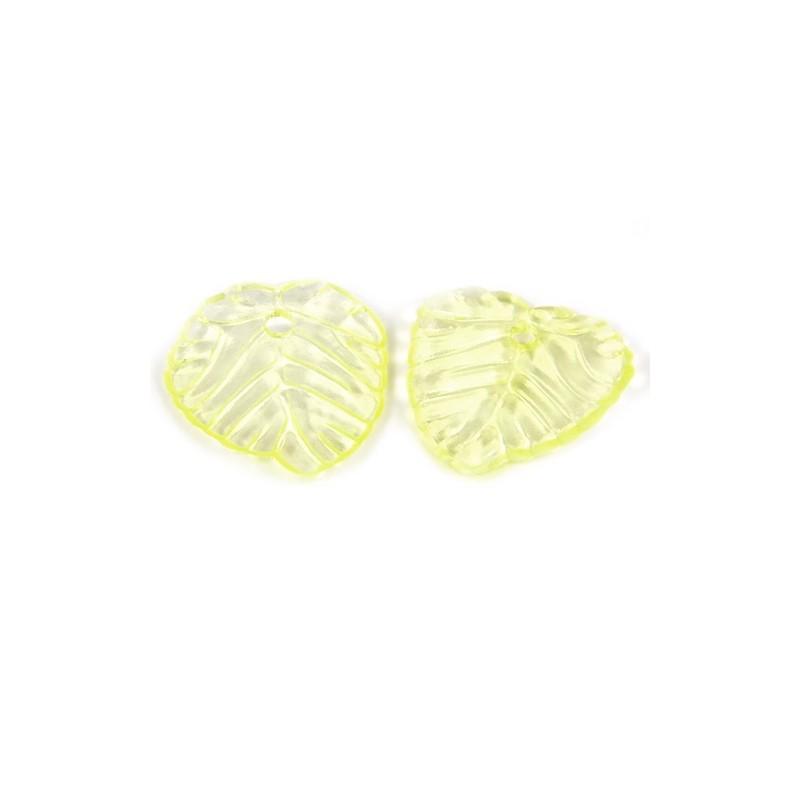 Підвіска Листочок, 15мм, глянсова, жовта