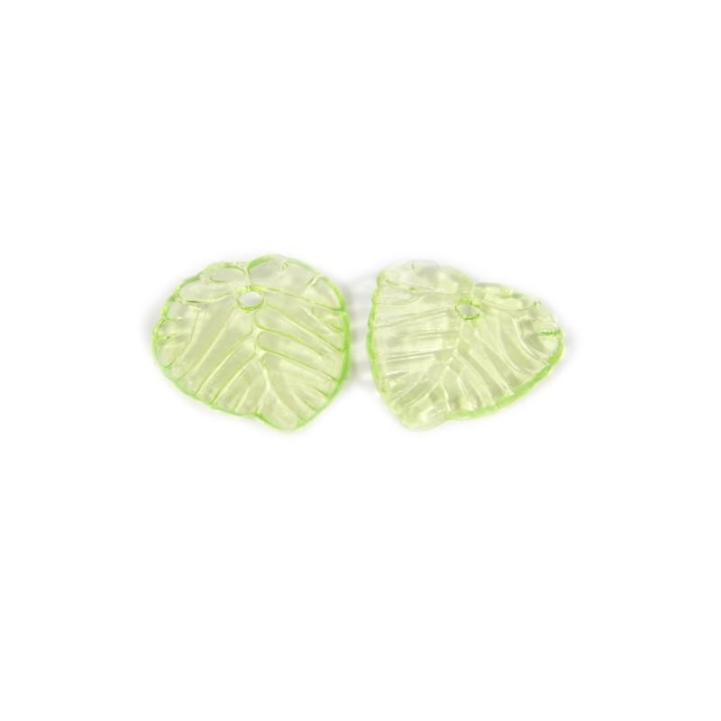 Підвіска Листочок, 15мм, глянсова, зелена