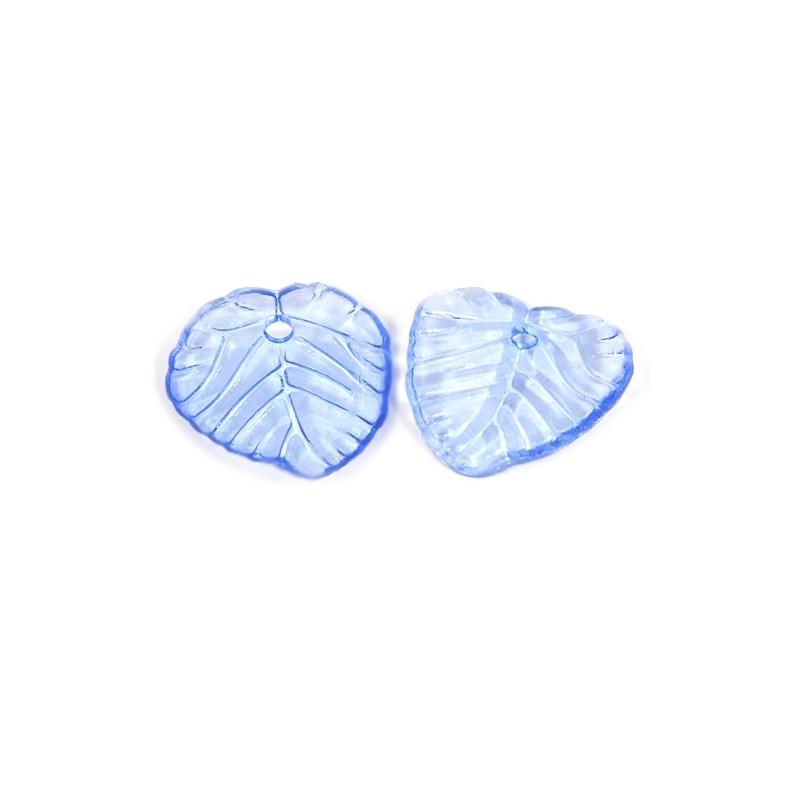 Підвіска Листочок, 15мм, глянсова, синя