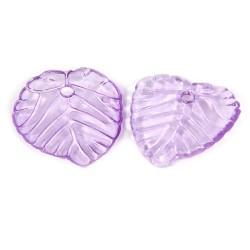 Підвіска Листочок, 15мм, глянсова, фіолетова