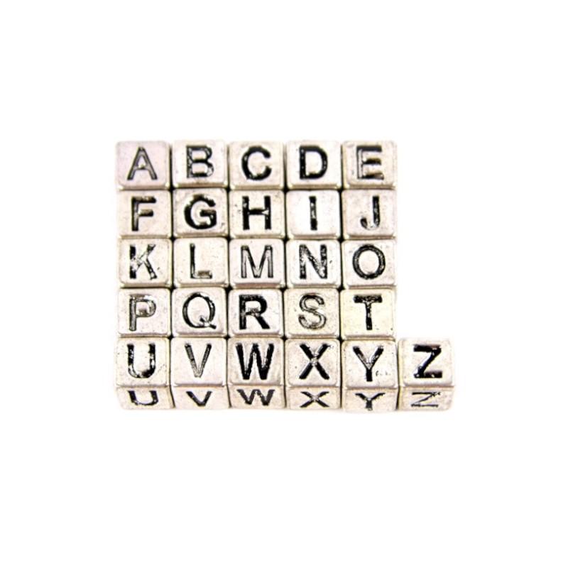 """Намистини літери від """"A"""" до """"Z"""" сталеві"""