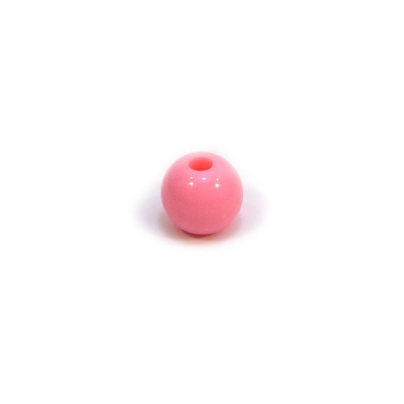 Акриловая бусина, 10мм, розовая