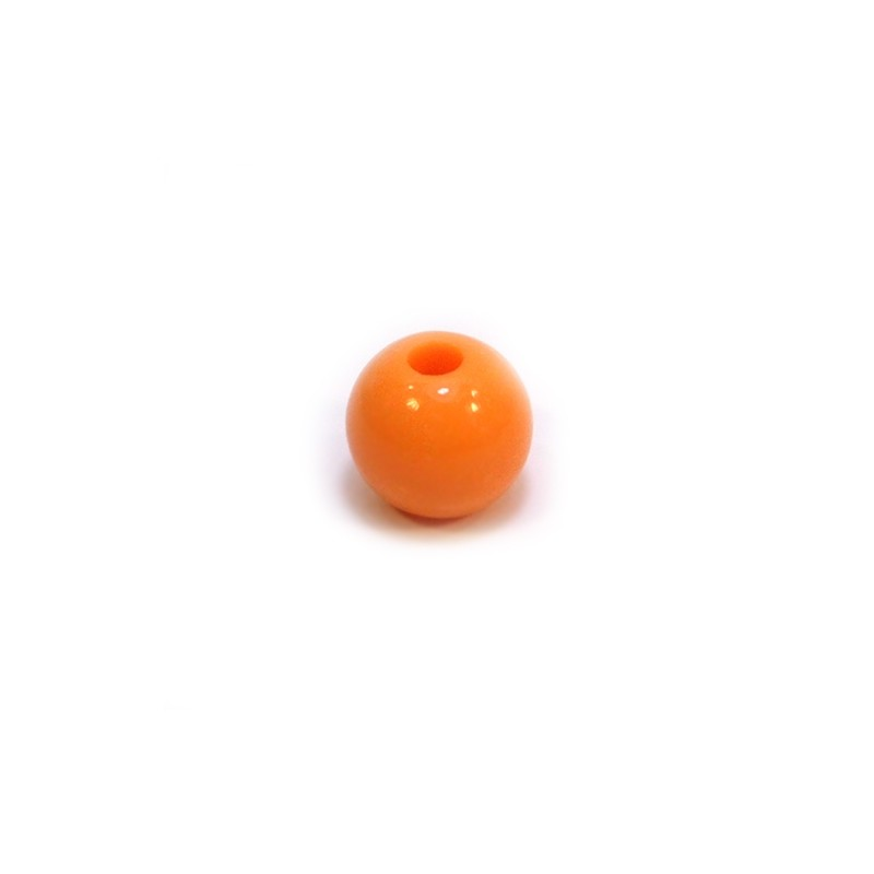Акриловая бусина, 10мм, оранжевая