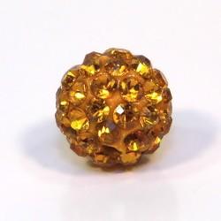 Намистинки Шамбала зі стразами, круглі, 10 мм у діаметрі, темно-помаранчеві