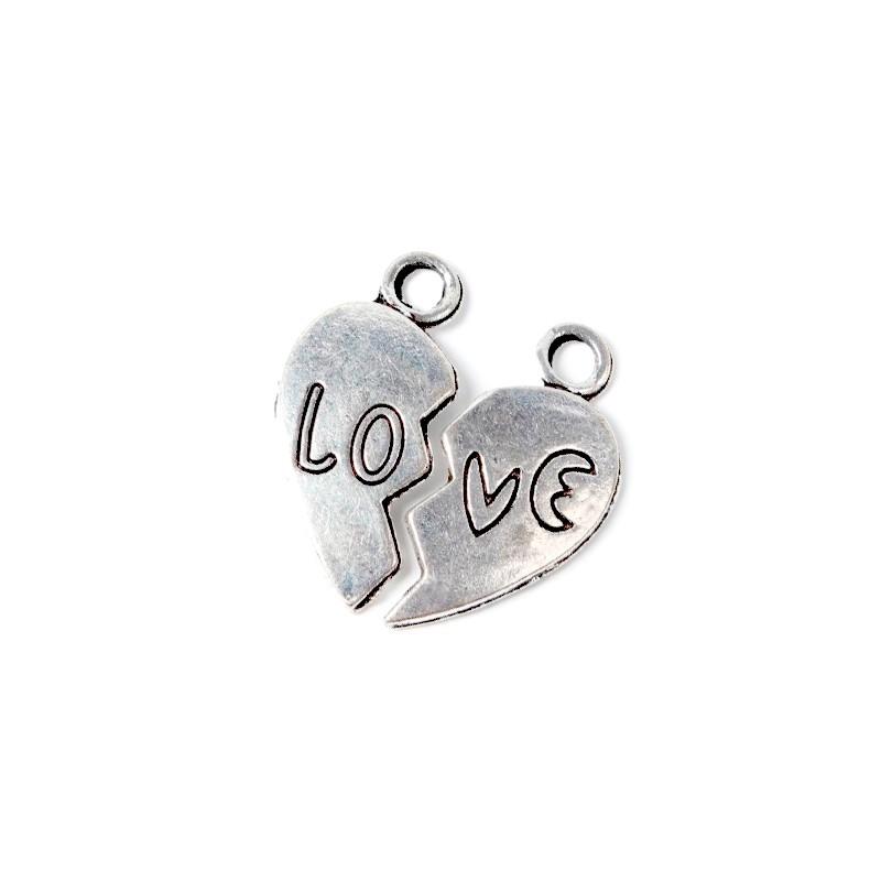 """Підвіска з двох половинок """"Love"""", 23мм, сталева"""
