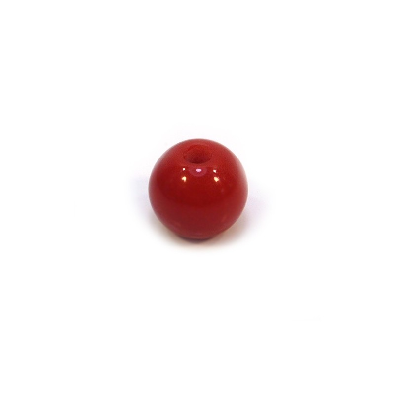 Акриловая бусина, 12мм, красная