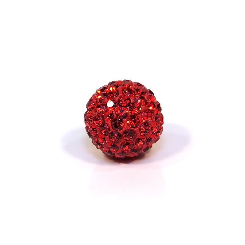 Бусины Шамбала в стразах, 14 мм в диаметре, ярко-красные