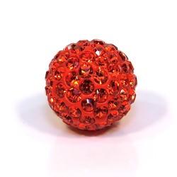 Бусины Шамбала в стразах, 14 мм в диаметре, ярко-оранжевые