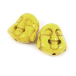 Бусина Будда, 15мм, натуральный говлит, желтая