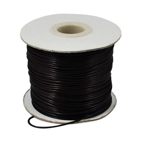Шнур вощеный искусственный, черный, 1мм, цена за 1метр