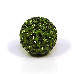 Бусины Шамбала в стразах, 14 мм в диаметре, оливковый-зеленый