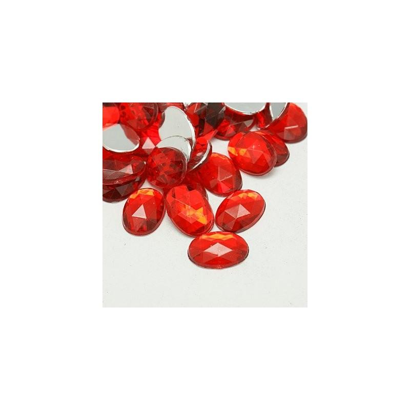 Кабошон акриловый, 20х30мм, овал, граненый, красный