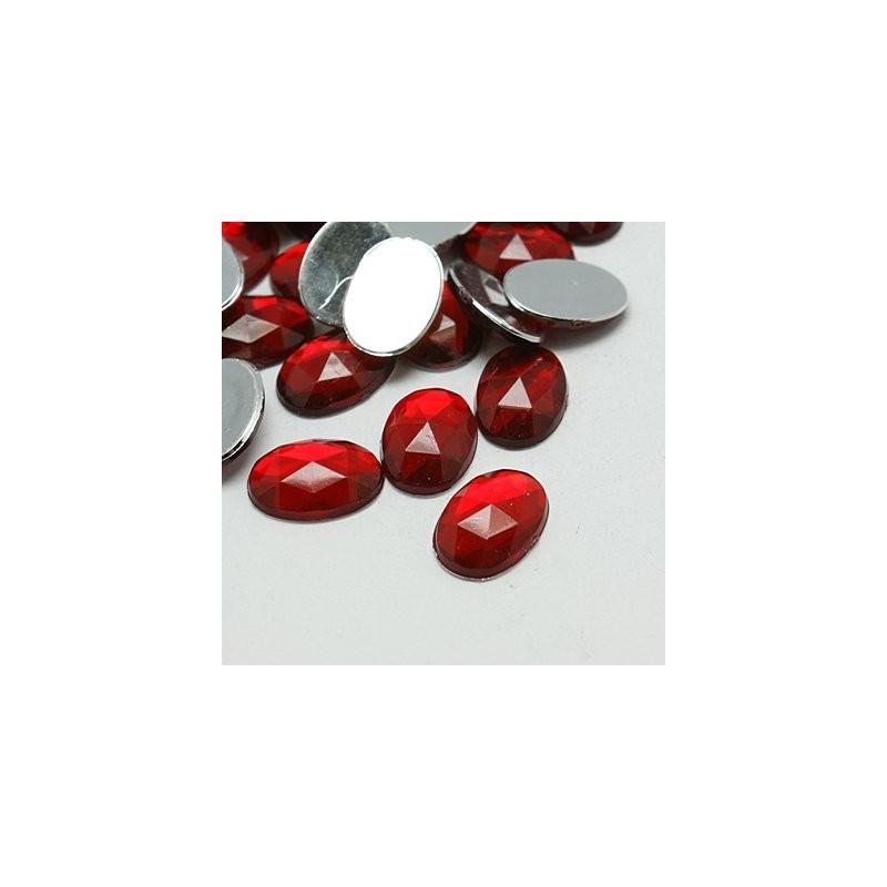 Кабошон акриловий, 20х30мм, овал, гранований, темно-червоний