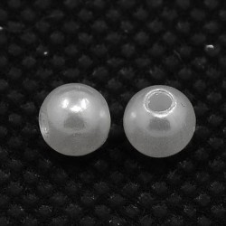 Перлина акрілова, 8 мм, біла