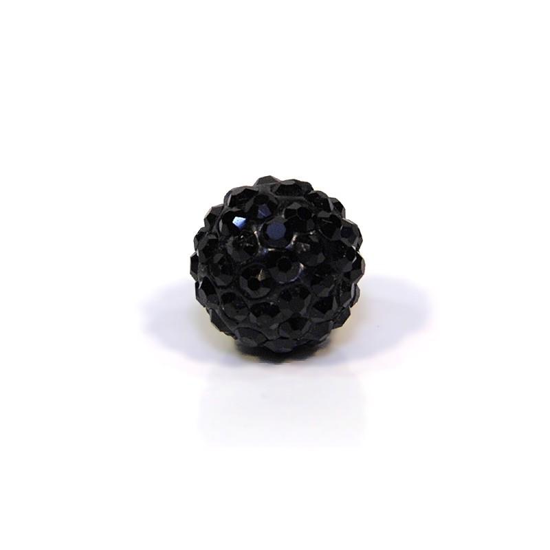 Бусины Шамбала в стразах, круглые 12 мм, черные