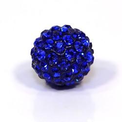 Бусины Шамбала в стразах, круглые 12 мм, темно-синие