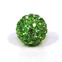 Бусины Шамбала в стразах, круглые 12 мм, зеленые