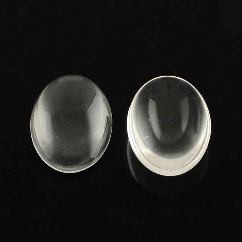 Кабошон стеклянный овал 5x18x25мм. (прозрачная линза)