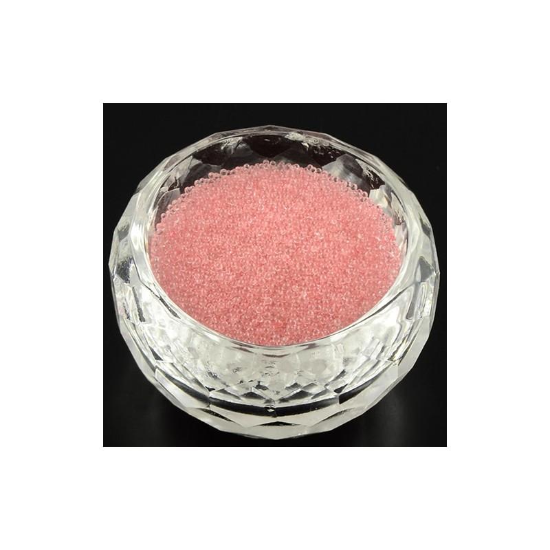 Бульонки скляні 0,6-0,8 мм рожеві прозорі
