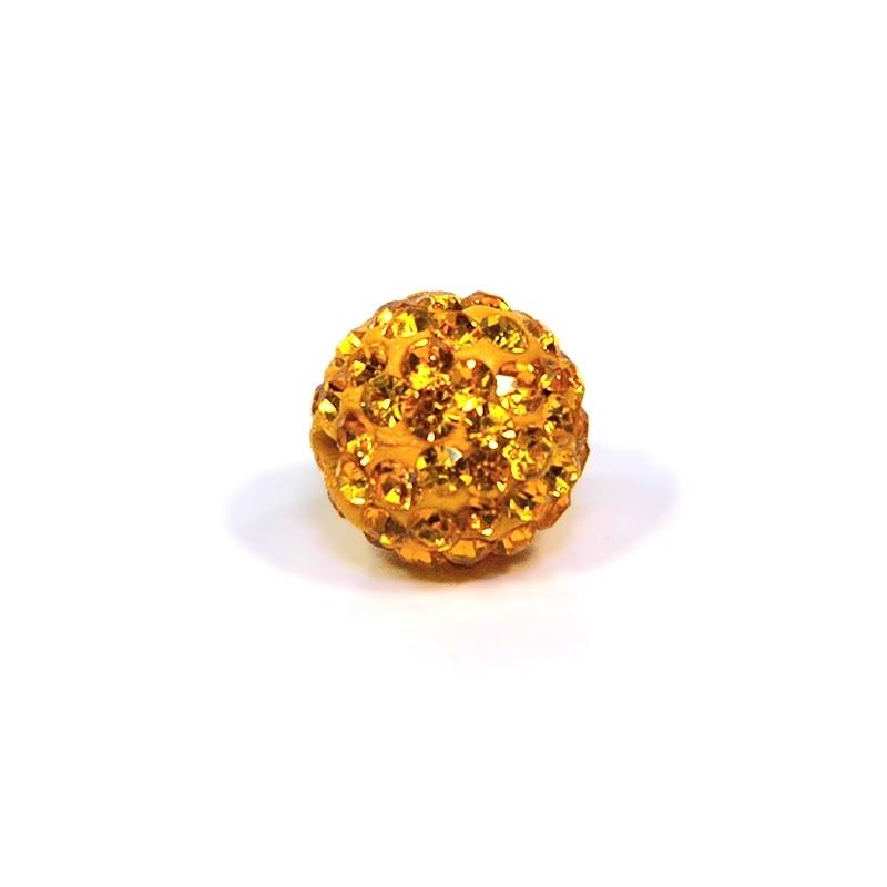 Бусины Шамбала в стразах, 12 мм в диаметре, оранжевые