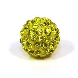 Бусины Шамбала в стразах, круглые 12 мм, желтые