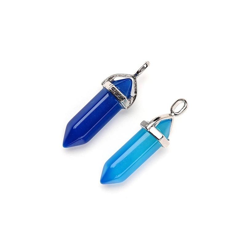 Кулон Агат, 39мм, синій, блакитний кристал