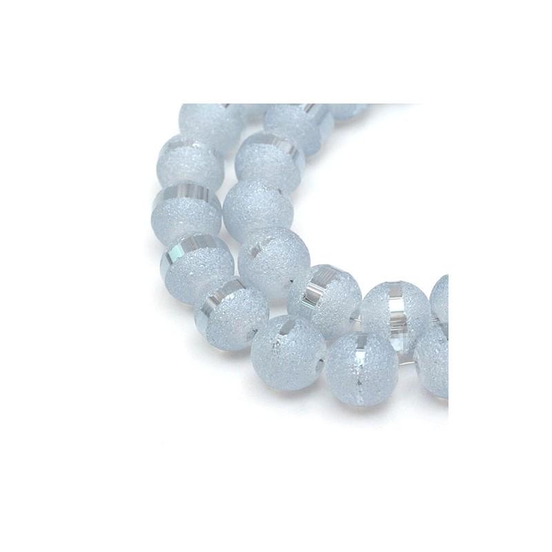 Бусина зі смужкою світло-блакитна 8-9 мм