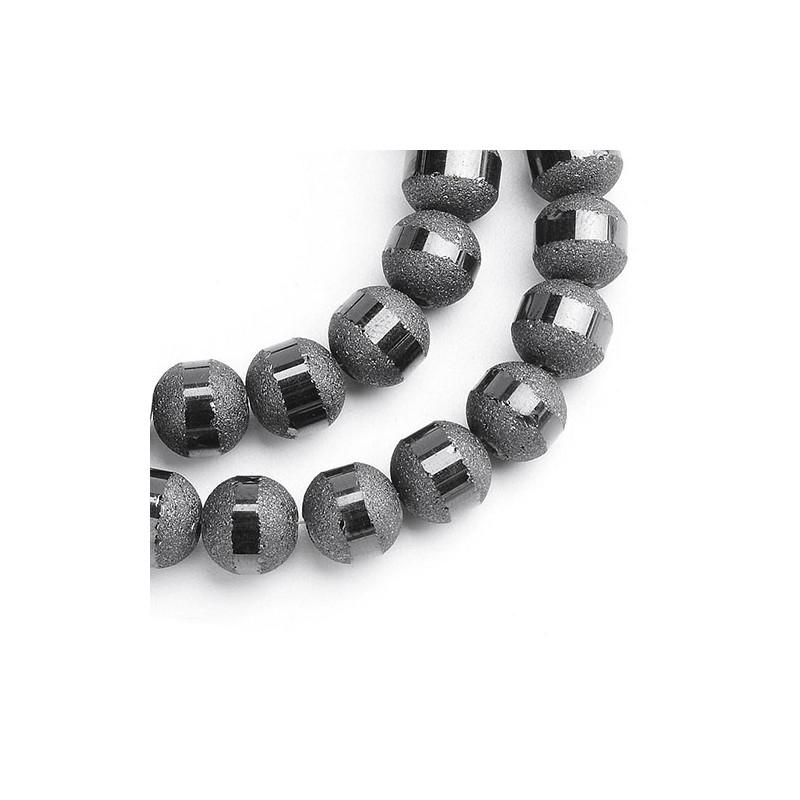 Гальванизированная бусина с полоской черная 8-9 мм