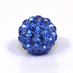 Бусины Шамбала в стразах, 10 мм в диаметре, синие