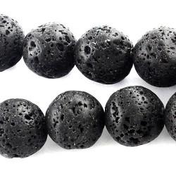 Натуральна лава 12мм кругла чорна намистина