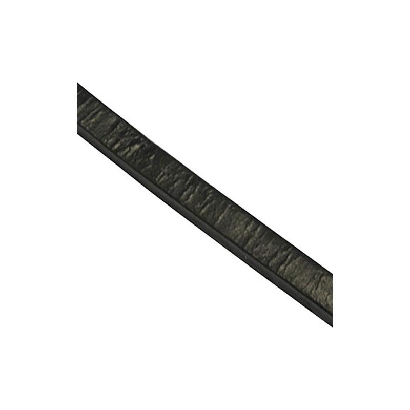 Шкіряний шнур 3мм плоский чорний