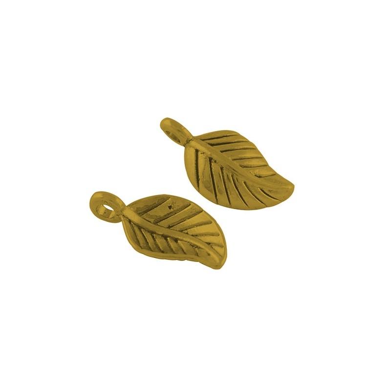 Підвіска листочок, 15мм, золотиста