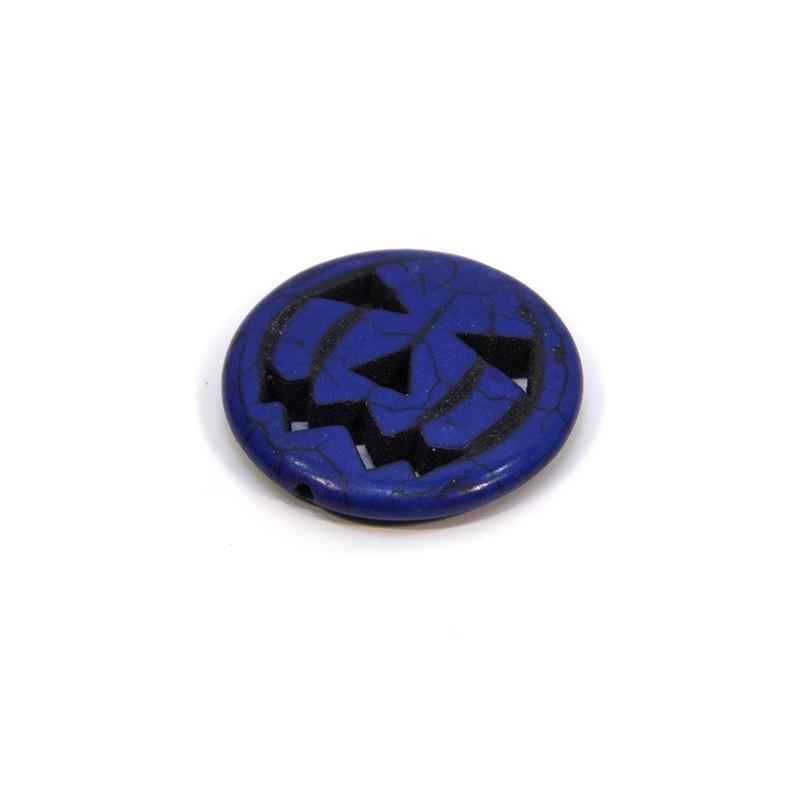 Намистина Гарбуз, натуральний говлит, 30мм, синя