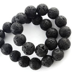Натуральная лава 6-7 мм круглая черная бусина