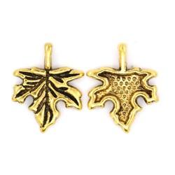 Підвіска кленовий листик, 17мм, античне золото
