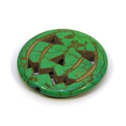 Бусина Тыква, натуральный говлит, 30мм, зеленая