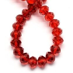 Кришталевий рондель7-10 мм, червоні, гранований