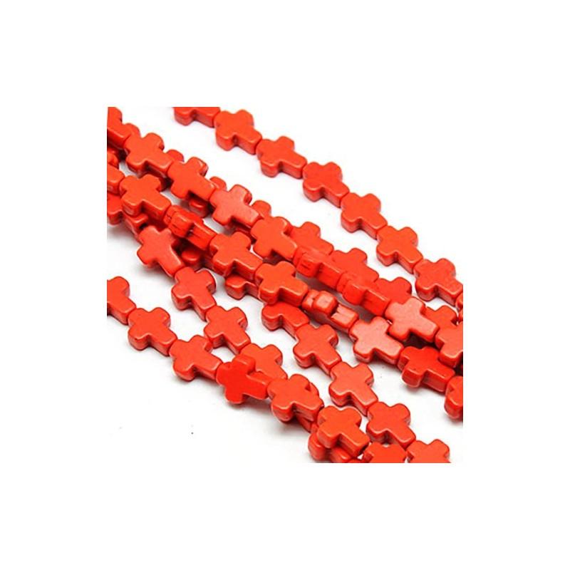 Бусина Крестик, 10мм, натуральный говлит, оранжевая