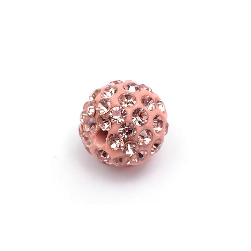 Намистини Шамбала в стразах, 10 мм, персикові рожеві
