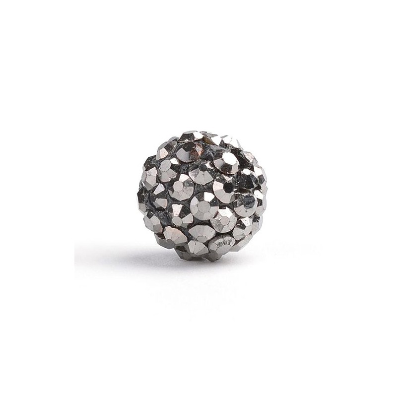 Бусины Шамбала в стразах, 10 мм, гематитовые