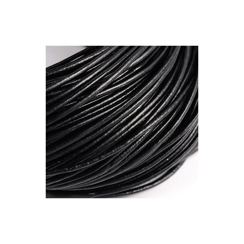 Шкіряний шнур 2мм гладкий чорний