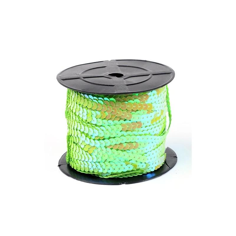 Пайетки светло-зеленые АБ 6мм гладкие на ните