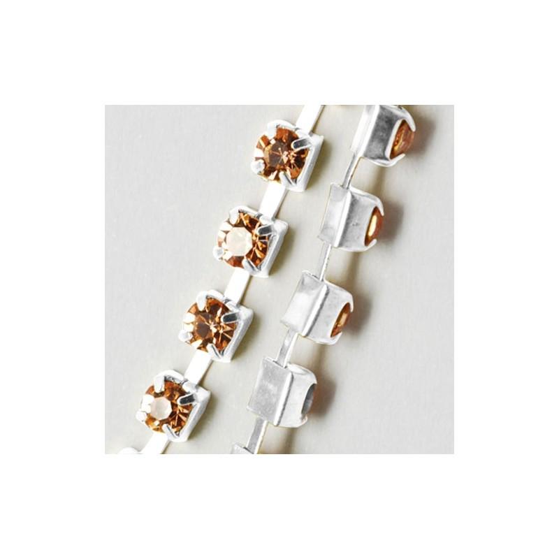 Ланцюжок з персиковими стразами 3мм