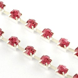 Цепочка с розовыми стразами 3мм