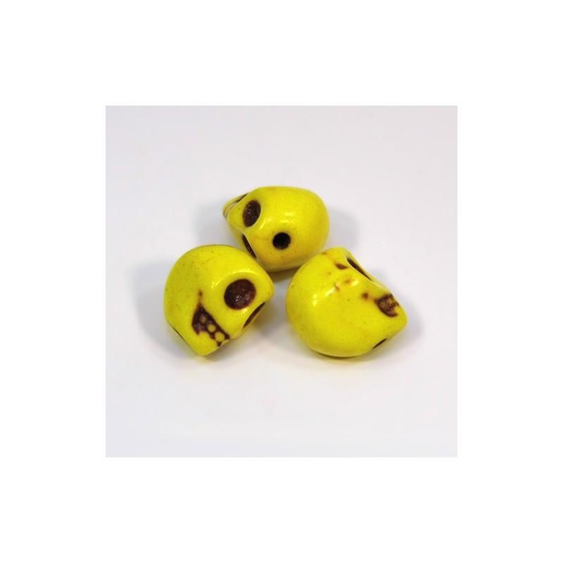 Бусины Черепа, 10мм, натуральный говлит, желтые
