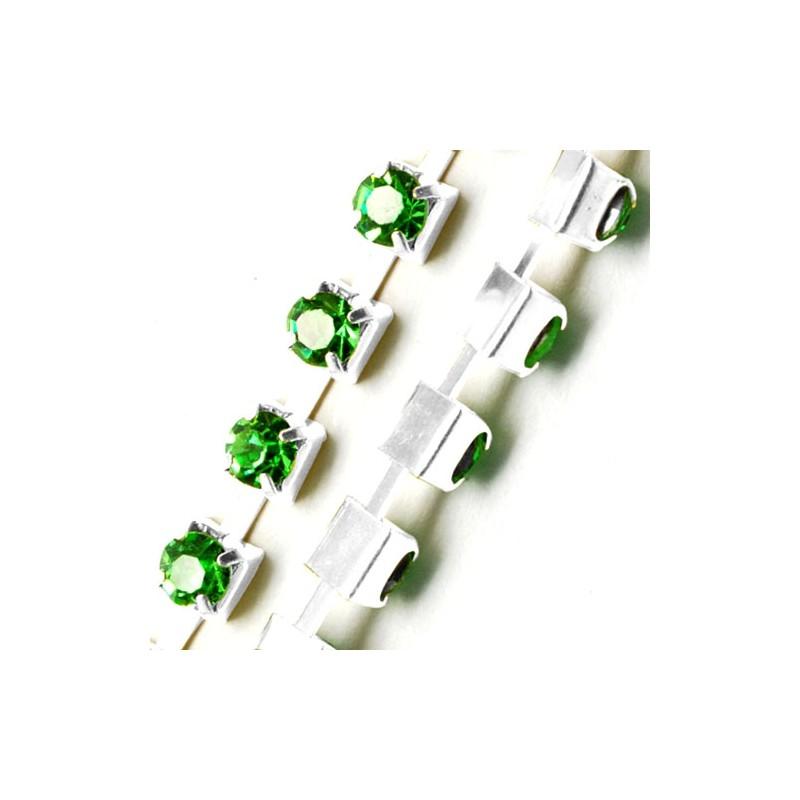 Цепочка с зелеными стразами 3мм